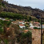 Blick auf das Schieferdorf nach den Waldbränden