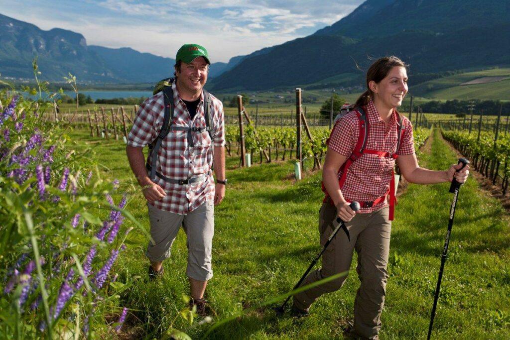 Wanderer vor einemWeinberg im Südtirol