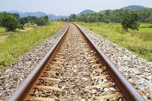 Eisenbahnschienen umgeben von Natur